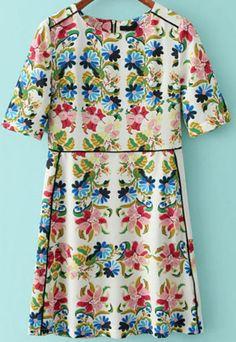 Multicolor Short Sleeve Zipper Floral Dress