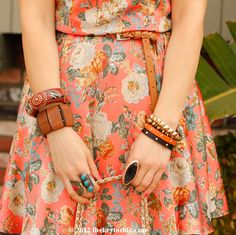 floral Sugarlips dress and layered bracelets