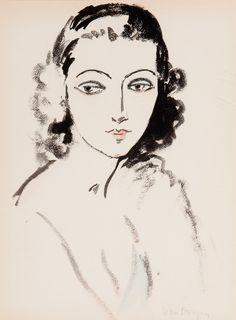 Portrait de Femme  -  Kees van Dongen Dutch 1877-1968 Lithograph with pochoir on vellum paper