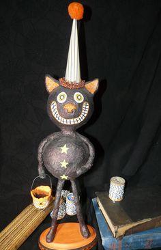 Vintage Inspired Halloween Black Cat Paper Mache Folk Art. $46.00, via Etsy.