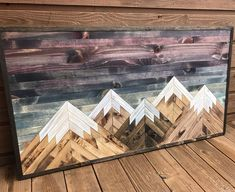 Rustic Sunset Five Mountains Wood Wall Art Into The Woods, Wooden Wall Art, Diy Wall Art, Wood Artwork, Wood Plank Art, Pallet Art, Pallet Beds, Wood Patterns, Barn Wood