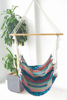 We always love a comfy hammock chair. And this one is colorful too.