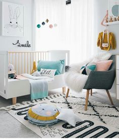 Bright, white kids room