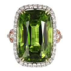 Peridot & Pink Diamond Cocktail Ring   From a unique collection of vintage cocktail rings at http://www.1stdibs.com/jewelry/rings/cocktail-rings/