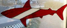 Stained glass scuba shark by NdePeaceablyLiving on Etsy, $60.00