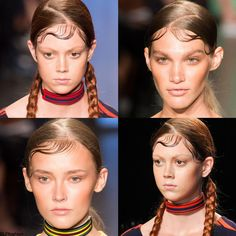 Trendy hairstyle for SS 2015:  Chola gang hairstyle. Wet-look hair with baby hair slicked-down curls + braids. DKNY spring summer 2015.