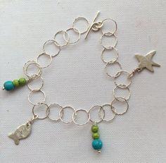 Charm bracelet fish and starfish bracelet sterling by SamsabyElena