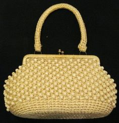 Vintage Ivory/Cream Beaded Raffia Handled Purse by GoodBuyForNow on Etsy