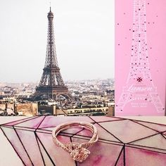 What's your engagement story? Continue the theme into your wedding with these limited edition @champagnelanson bottles ft world landmarks inc the #eiffeltower. Ring by @simongjewelry. Use abstract details for a subtle theme #engagementstory #weddinginspiration #colourinspiration #paris #pinkchampagne #geometric