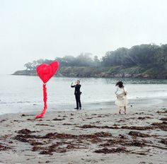 Why don't you go fly a kite?! (On your wedding day.) (On a seaweedy beach.)