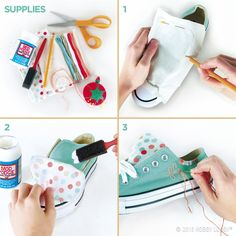 "Step up your shoe game with fabric-covered footwear. First, the shopping list: fabric, fabric decoupage medium, embroidery floss, pins, scissors, foam brush, pencil. 1) Pin scrap fabric to tongue, and trace around it. Add 1⁄2"" to sides and top. Use as template to cut fabric. 2) Decoupage fabric to tongue. 3) Whipstitch around top of shoe, and embroider word or phrase of your choice."