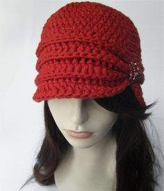 Vintage Inspired Cloche Hat with Glass Beading Scarlet Red Crochet Newsboy Hat, Crochet Cap, Hand Crochet, Knitted Hats, Flapper Hat, Flapper Style, Hats For Short Hair, Crochet Organizer, Crochet Hat For Women