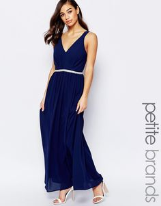 a8228c3d012c Image 1 of Jarlo Petite V Neck Maxi In Chiffon With Embellished Waist Navy  Kjole