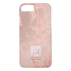 Rose Gold Marble Phone Cases Monogrammed Geometric - monogram gifts unique design style monogrammed diy cyo customize