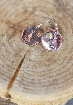 HOWLIN AT MOON recycled copper EARRING - Junk GYpSy co.