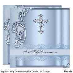 Boy First Holy Communion Blue Confirmation Card