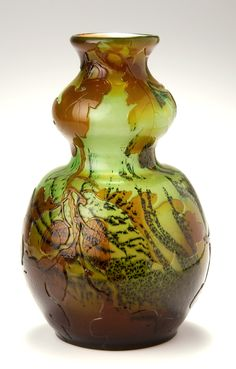 Emile Gallé double gourd shaped vase decorated with oak leaves and acorns, c…