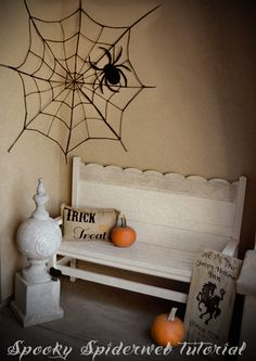 Spooky Outdoor Spiderweb Tutorial! - click thru for the tutorial on this fun Halloween DIY craft idea using Mod Podge
