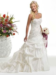 New arrival A-line taffeta sleeveless bridal gown