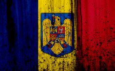 Download wallpapers Romanian flag, 4k, grunge, flag of Romania, Europe, Romania, national symbolism, coat of arms of Romania, Romanian coat of arms