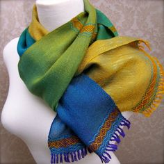 Purple to Gold with Turquoise Handwoven Scarf