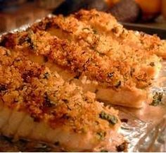 Herb Crusted Salmon Fillets Recipe..made this tonight and hubby said it was really good!!!  I used some leftover panko mixed with garlic pepper.   Seasoned the salmon with Pampered Chef's Citrus & Herb rub, little bit lemon juice then the crumb mixture.  Followed Pioneer Woman's advice and place in a cold oven, turned it on to 400 and baked for 25 mins.  Salmon was perfect!!