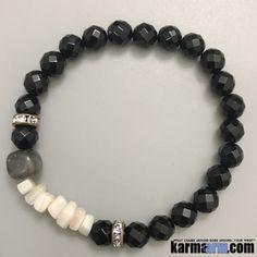 Yoga Bracelets. Mens Women's Beaded Handmade Luxury.  Law of Attraction. Energy Healing. Beaded Mala. Tibetan Buddhist. #LOA. OM Mantra. Labradorite MOP Black Onyx.