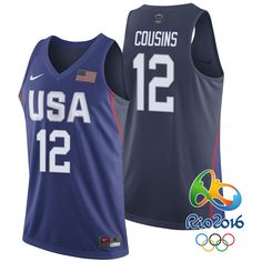 2016 Olympics USA Dream Team #12 DeMarcus Cousins Navy Swingman Jersey