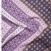 Purple and Lavender Ornate Chevron Print Rayon Challis