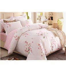 Amazing Pink Flower Print 3-Piece 100% Cotton Duvet Cover Sets
