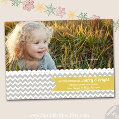 **FOR A FULL SELECTION OF AVAILABLE CHRISTMAS ANNOUNCEMENTS, GO HERE: http://www.etsy.com/shop/SprinkledJoy?section_id=11368302    PORTRAIT VERSION
