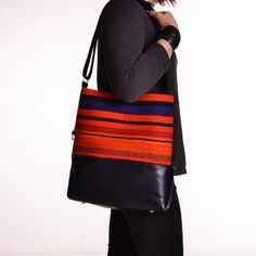 REVONTULI Orange Laava Raanu Leather Bag Cross by SalmiakStudio, $169.00