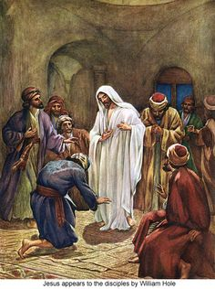 Jesus appears to the apostles in the upper chamber, scene of the Last Supper. It is Jesus' ninth resurrection appearance. Bible Pictures, Jesus Pictures, Religious Pictures, Lucas 24, Image Jesus, Spirit Of Truth, Holy Spirit, Gospel Of Luke, Biblical Art