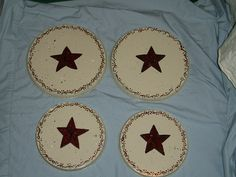 Primitive barn star burner covers set of 4 by Kitchendecorplusmore Stove Burner Covers, Electric Stove, Primitive, Barn, Unique Jewelry, Handmade Gifts, Kitchen, Crafts, Vintage