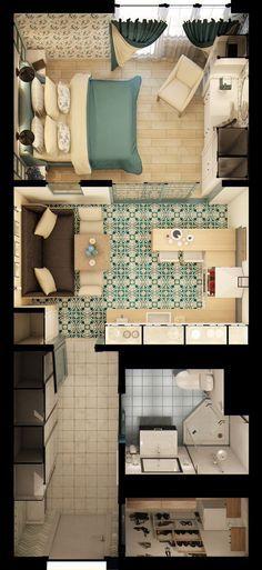 На скромной площади автору проекта этой однушки удалось совместить все необходимые для комфортного проживания зоны: кухню, спальню, гостиную и даже гардеробную. Как? Рассмотрим подробнее