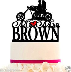 Wedding Cake Topper Bikers Custom with Your LAST NAME and color choice