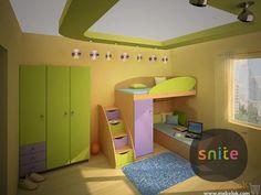 Комплект мебели L-класс 9 - кровать-чердак со шкафом. Яркие фасады, функциональный дизайн