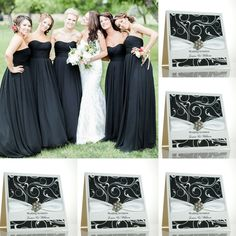 Black and white wedding invitations with a modern swirly design.