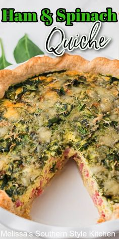Start your day with this flavorful Ham and Spinach Quiche #spinachquiche #hamandspinachquiche #bestquicherecipes #leftoverhamrecipes #ham #spinachrecipes #quiche #brunch #breakfast #lunch #holidaybrunch #southernfood #southernrecipes Best Quiche Recipes, Best Brunch Recipes, Spinach Recipes, Favorite Recipes, Ham And Spinach Quiche, Melissas Southern Style Kitchen, Leftover Ham Recipes, Southern Recipes, Tarts