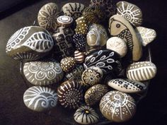 Painted rocks in naturals