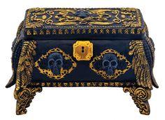 Amazon.com - El oro y la joyería Cráneo Negro cuadro titular de contenedores con el espejo interior -