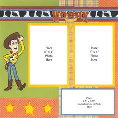 Toy Story Cowboys Two Page Scrapbook Layout with Woody, Jessie, & Bullseye