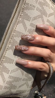 Gold glitter & nude coffin nails