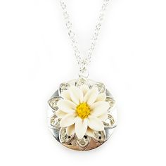 A silver-plated Daisy locket necklace. The necklace features a matching filigree decor and drops from a cable chain offered in assorted lengths. Locket : 1 i Silver Locket Necklace, Daisy Necklace, Silver Lockets, Silver Earrings, Gold Locket, Butterfly Necklace, Silver Necklaces, Jewelry Necklaces, Swarovski Crystal Earrings