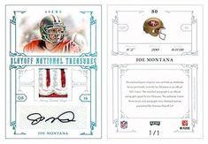 Joe Montana 2008 Playoff National Treasures 80 Autograph Patch Platinum (#1/1)