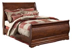 Ashley Furniture Signature Design - Wilmington Traditional Sleigh Bedset - Queen Size Bed - Reddish Brown