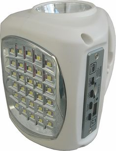 Lil Bud. •Emergency lantern •High powered LED light •FM Radio (no more sitting in the dark in silence) •MP3 Player  •USB Out port (You can use a USB cable to charge your cell phone) •You can add an optional solar panel for areas where there is no electricity supply.