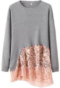 Grey Round Neck Long Sleeve Lace Embellished Sweater 33.33
