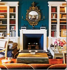 Accent navy wall for fireplace
