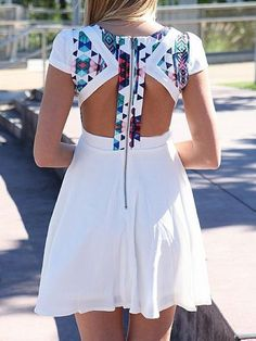 Geometric Patterned White Skater Dress With Cut Out Back Detail